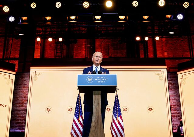 U.S. President-elect Joe Biden delivers a pre-Thanksgiving address at his transition headquarters in Wilmington, Delaware, U.S., November 25, 2020.