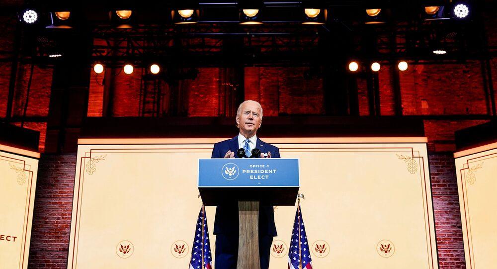 U.S. President-elect Joe Biden delivers a pre-Thanksgiving address at his transition headquarters in Wilmington, Delaware, U.S., November 25, 2020.