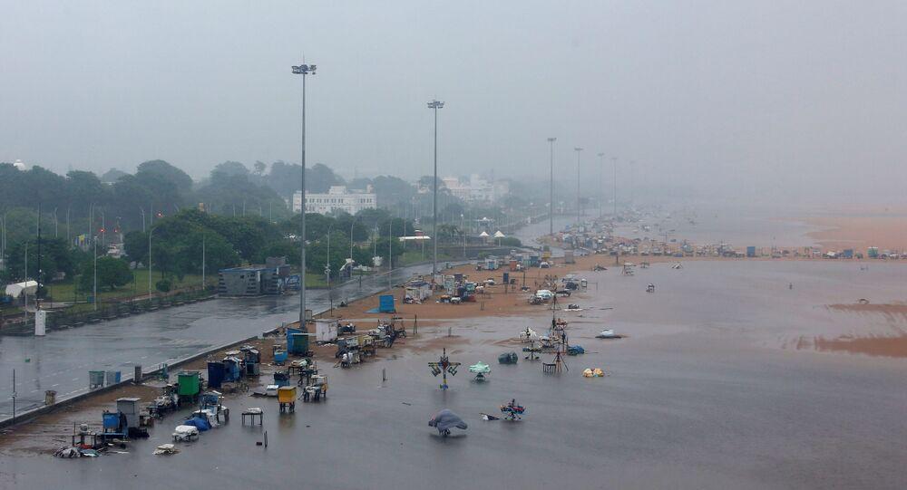 A deserted Marina beach is seen during rains before Cyclone Nivar's landfall, in Chennai, India, November 25, 2020
