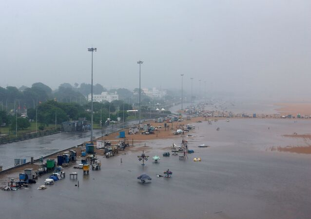 A deserted Marina beach is seen during rains before Cyclone Nivar's landfall, in Chennai, India, November 25, 2020