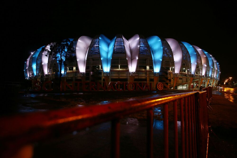 General view of the Beira-Rio Stadium with the colours of Argentina in tribute to Diego Maradona in Porto Alegre, Brazil, 25 November 2020