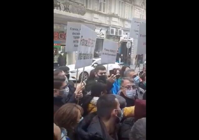 Protest rally held in front of the French Embassy in Baku