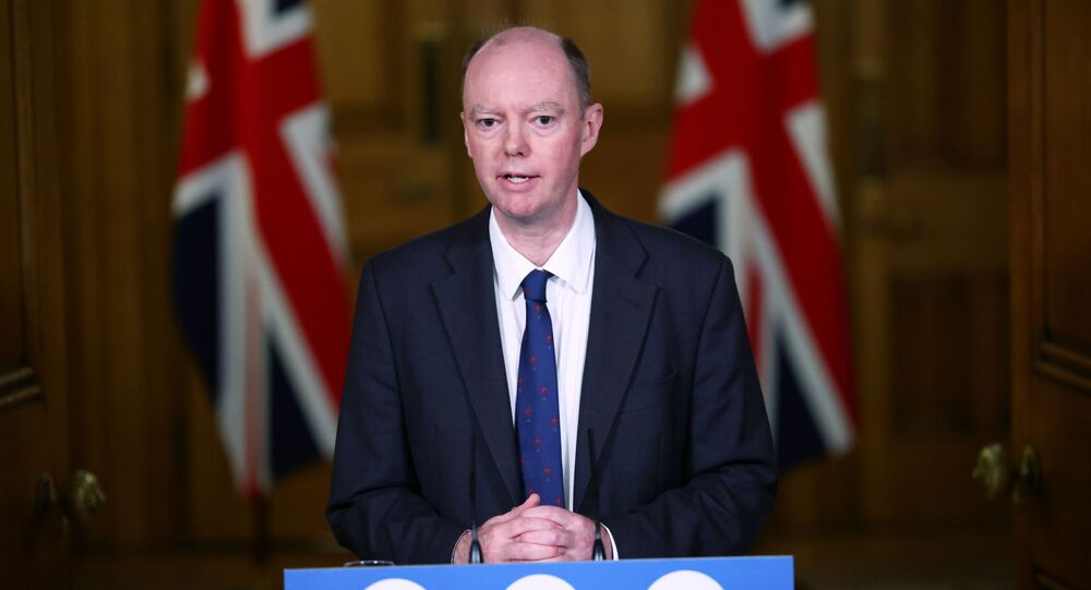 Chief Medical Officer for England Chris Whitty attends a virtual news conference on the ongoing situation with the coronavirus disease (COVID-19), at Downing Street, London, Britain November 23, 2020.