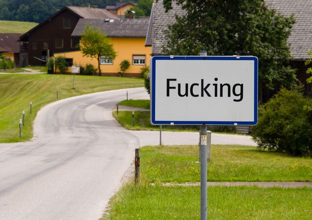 City limit sign of Fucking, Austria