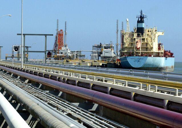 An oil tanker is seen at Jose refinery cargo terminal in Venezuela