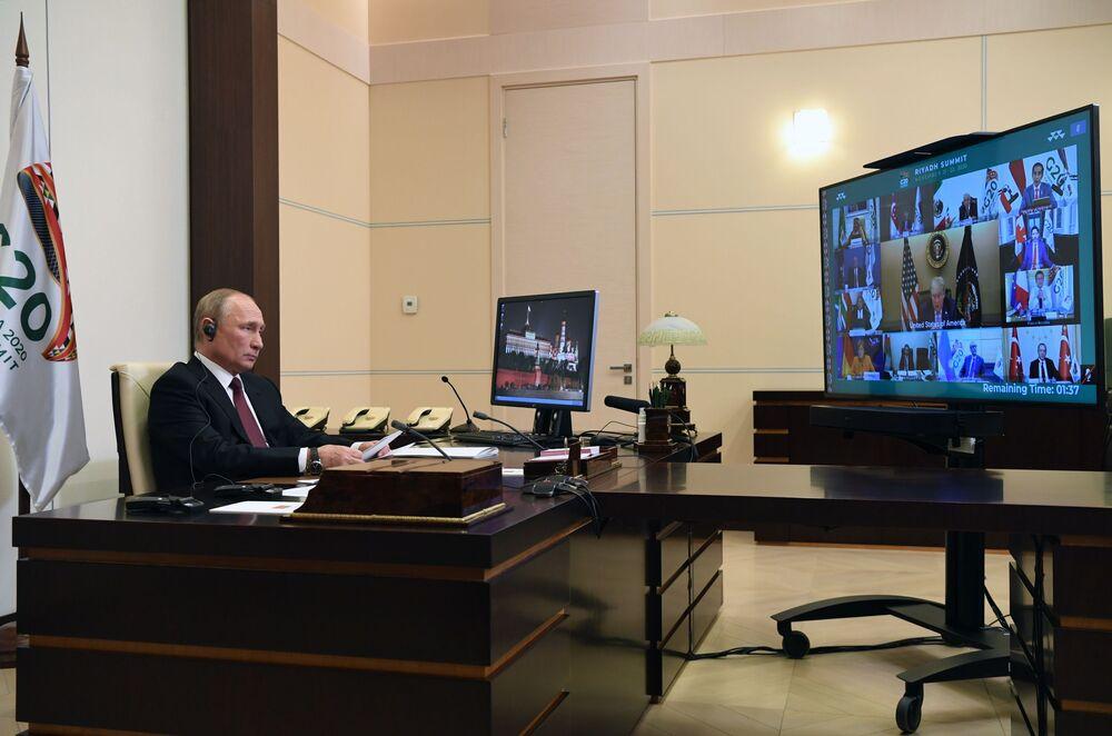 Russian President Vladimir Putin takes part in the G20 summit via videoconference.