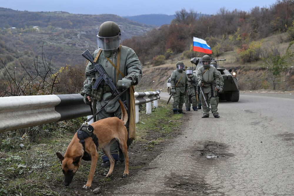 Specialists from the International Demining Centre of the Russian Ministry of Defence performing engineering reconnaissance, demining and destroying explosives in the Nagorno-Karabakh.