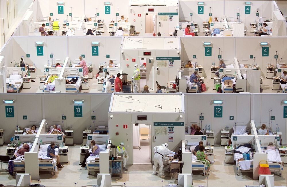 Temporary hospital for COVID-19 patients in the Krylatskoye ice palace, Moscow.