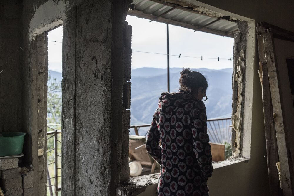 A woman in a house in the village of Karegakh, Nagorno-Karabakh. According to the trilateral ceasefire agreement in Nagorno-Karabakh, the Lachin region should be transferred to Azerbaijan by 1 December 2020.