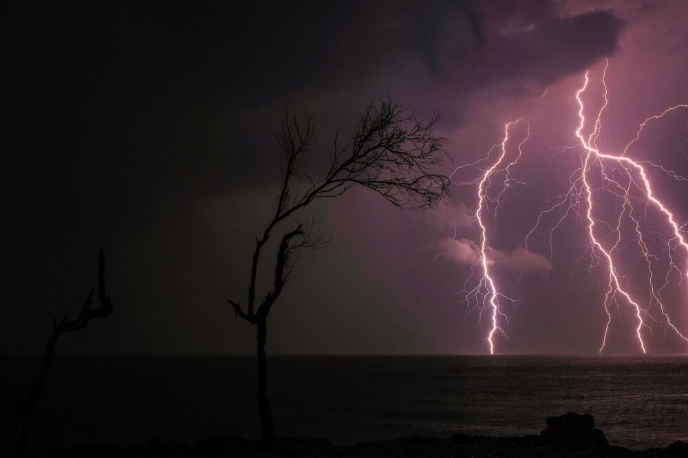 Lightning strikes off the coast of the Mediterranean city of Batroun in northern Lebanon on 25 November 2020.