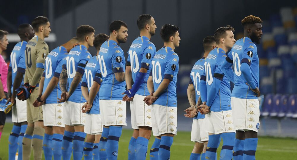Soccer Football - Europa League - Group F - Napoli v HNK Rijeka - Stadio San Paolo, Naples, Italy 26 November 2020 - General view as Napoli players line up wearing shirts with Diego Maradona's name on the back before the match.