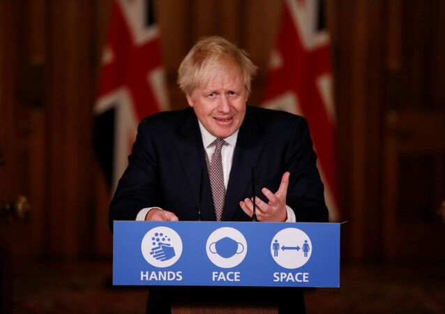 Britain's Prime Minister Boris Johnson speaks during a news conference on the ongoing situation with the coronavirus disease (COVID-19), at Downing Street, in London, Britain November 26, 2020.  Jamie Lorriman/Pool via REUTERS