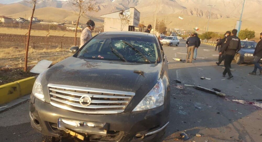 The scene of the attack that killed prominent Iranian scientist Mohsen Fakhrizadeh, outside Tehran, Iran, 27 November 2020.