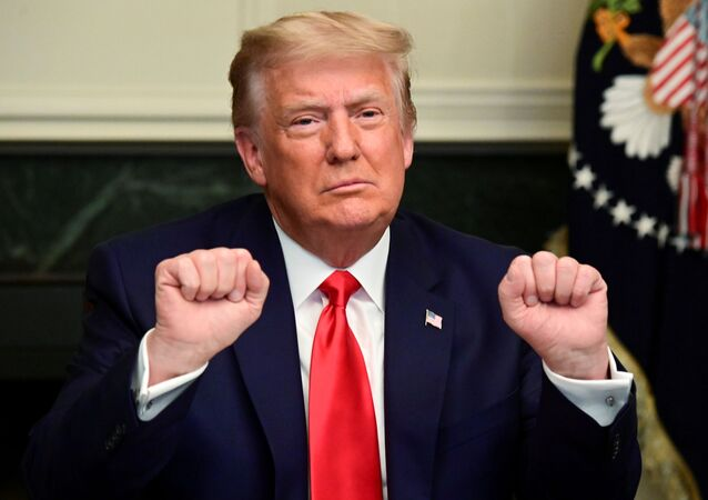 U.S. President Donald Trump gestures as he participates in a Thanksgiving video teleconference with members of the military forces at the White House in Washington, U.S., November 26, 2020.