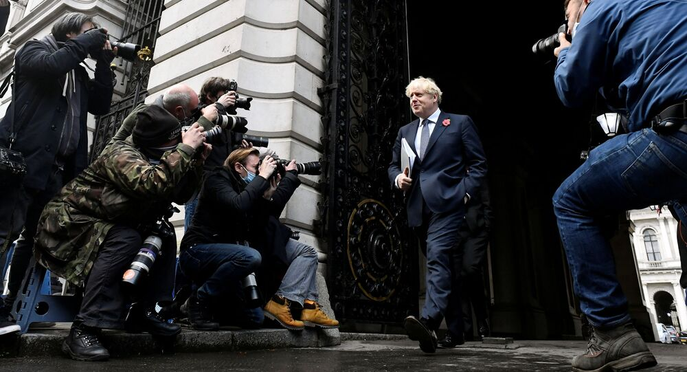 Britain's Prime Minister Boris Johnson leaves after a cabinet meeting at the Foreign and Commonwealth Office (FCO) in London, Britain