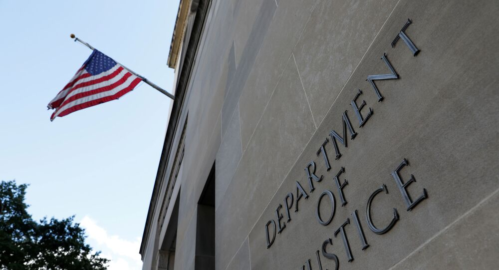 Signage is seen at the United States Department of Justice headquarters in Washington, D.C., U.S., August 29, 2020