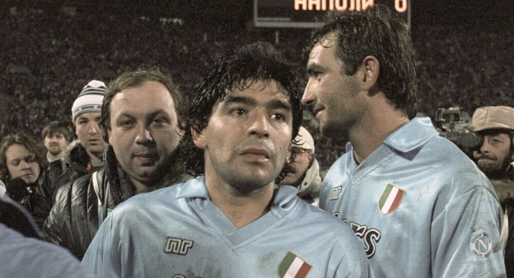 Diego Maradona (centre) of Italy's Napoli after a match with Moscow's Spartak in 1990.