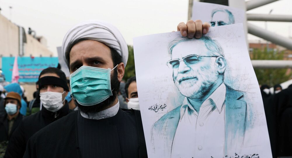 A protester holds a picture of Mohsen Fakhrizadeh, Iran's top nuclear scientist, during a demonstration against his killing in Tehran, Iran, November 28, 2020