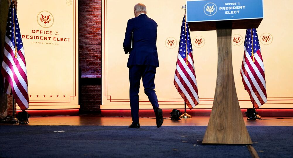 U.S. President-elect Joe Biden departs after delivering a pre-Thanksgiving speech at his transition headquarters in Wilmington, Delaware, U.S., November 25, 2020.