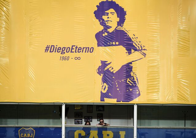 A flag in Buenos Aires, Argentina bearing the legend Diego Eterno was placed on top of the personal box that Diego Maradona, his family and friends used for years, 29 November 2020.