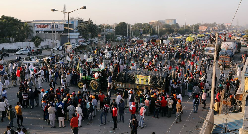 Farmers gather at a site of a protest against the newly passed farm bills at Singhu border near Delhi, India, November 28, 2020