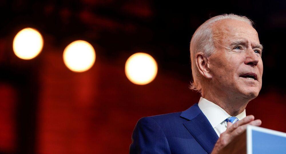 U.S. President-elect Joe Biden delivers a pre-Thanksgiving speech at his transition headquarters in Wilmington, Delaware, U.S., November 25, 2020.