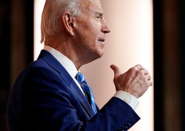 U.S. President-elect Joe Biden delivers a pre-Thanksgiving speech at his transition headquarters in Wilmington, Delaware, U.S., November 25, 2020
