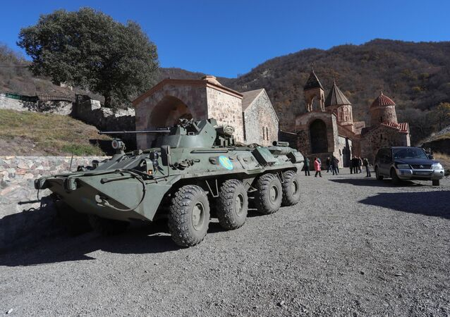 A view shows an armoured personnel carrier of the Russian peacekeeping forces near Dadivank Monastery in the region of Nagorno-Karabakh, November 24, 2020