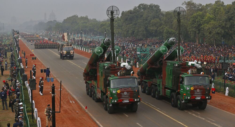 Brahmos supersonic missiles, jointly developed by India and Russia, are displayed during full dress rehearsals for the Republic Day parade in New Delhi, India, Thursday, Jan. 23, 2014