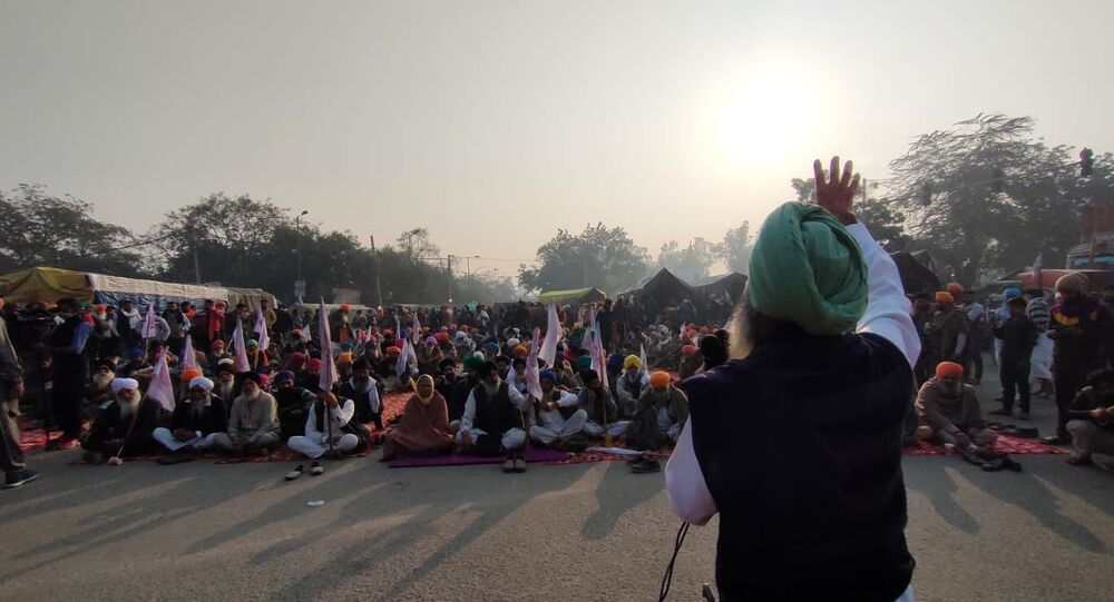 Indian farmers protesting against new farm laws introduced by the Narendra Modi government.