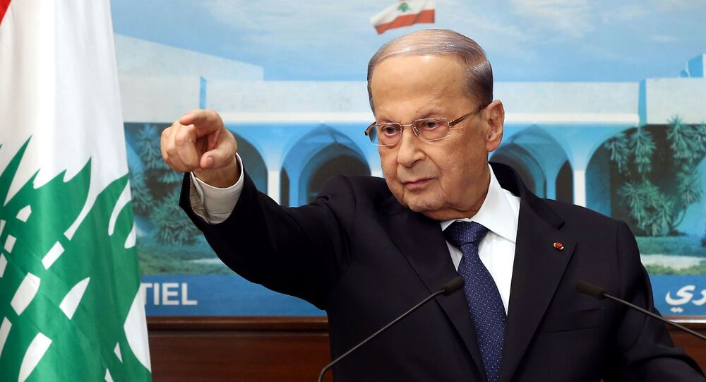 A handout picture provided by the Lebanese photo agency Dalati and Nohra on September 21, 2020, shows President Michel Aoun talking to the press at the presidential palace in Baabda, east of the capital, regarding ongoing consultations to form a new cabinet