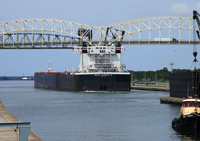 The freighter Walter J. McCarthy Jr. heads into Lake Superior after negotiating the Soo Locks