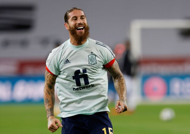 Spain's Sergio Ramos during the warm up before the match