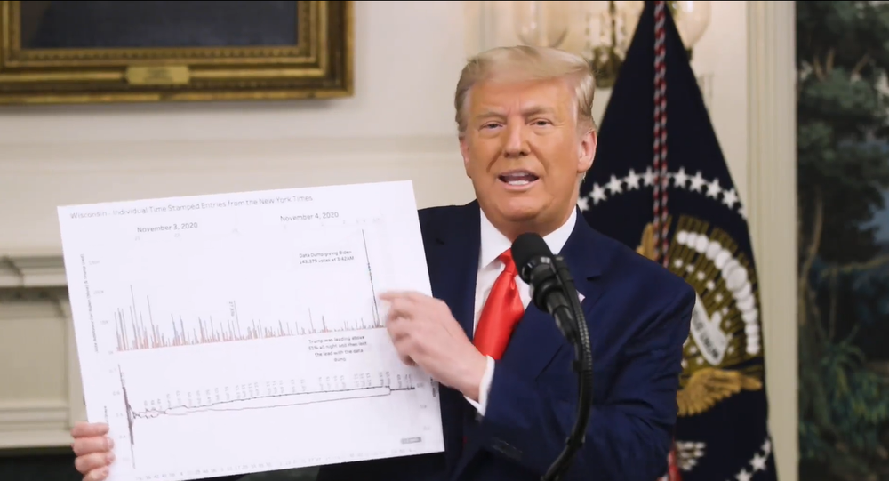 Screenshot from the video statement by US President Donald Trump regarding alleged voter fraud during the US presidential election