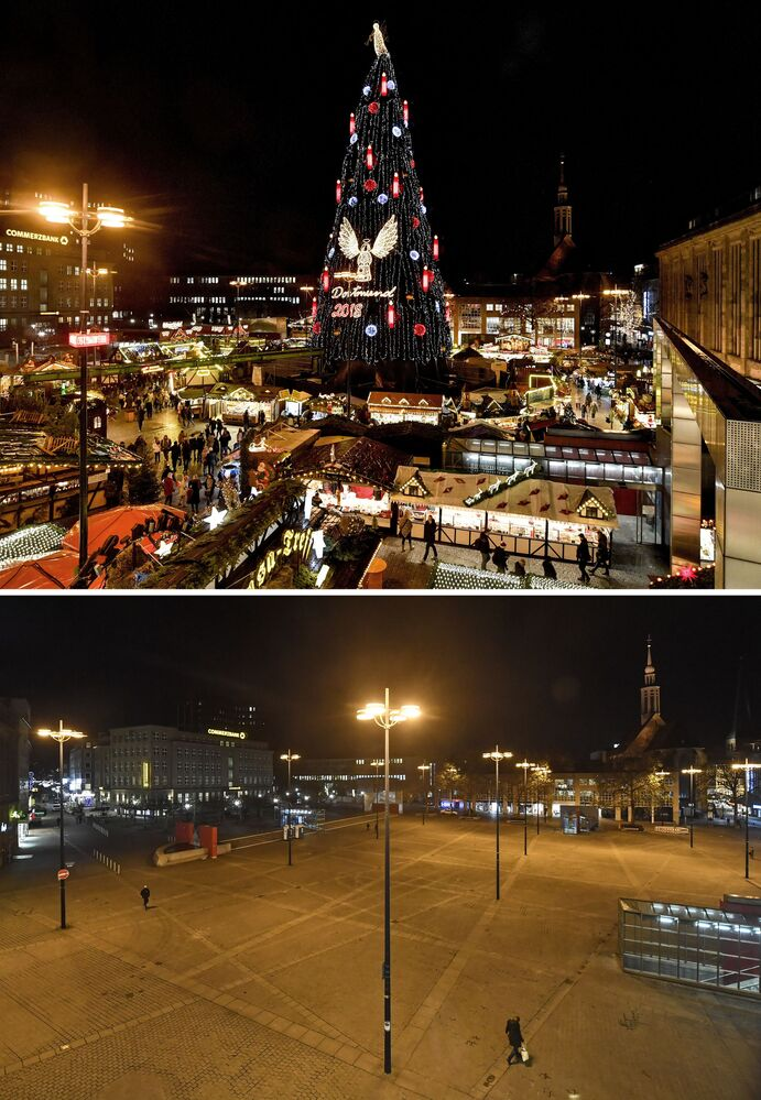 This combination image shows a file photo dated Monday, 17 December 2018 of a square with the traditional Christmas Market in Dortmund, Germany, top, and the square on Monday, 23 November 2020, below.