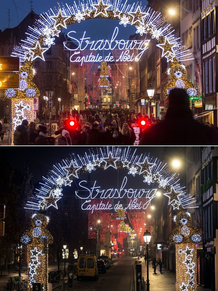 This combination image shows a file photo dated Tuesday, 20 December 2016 of the traditional Market in Strasbourg, France, top, and the square on Friday, 27 November 2020 below.