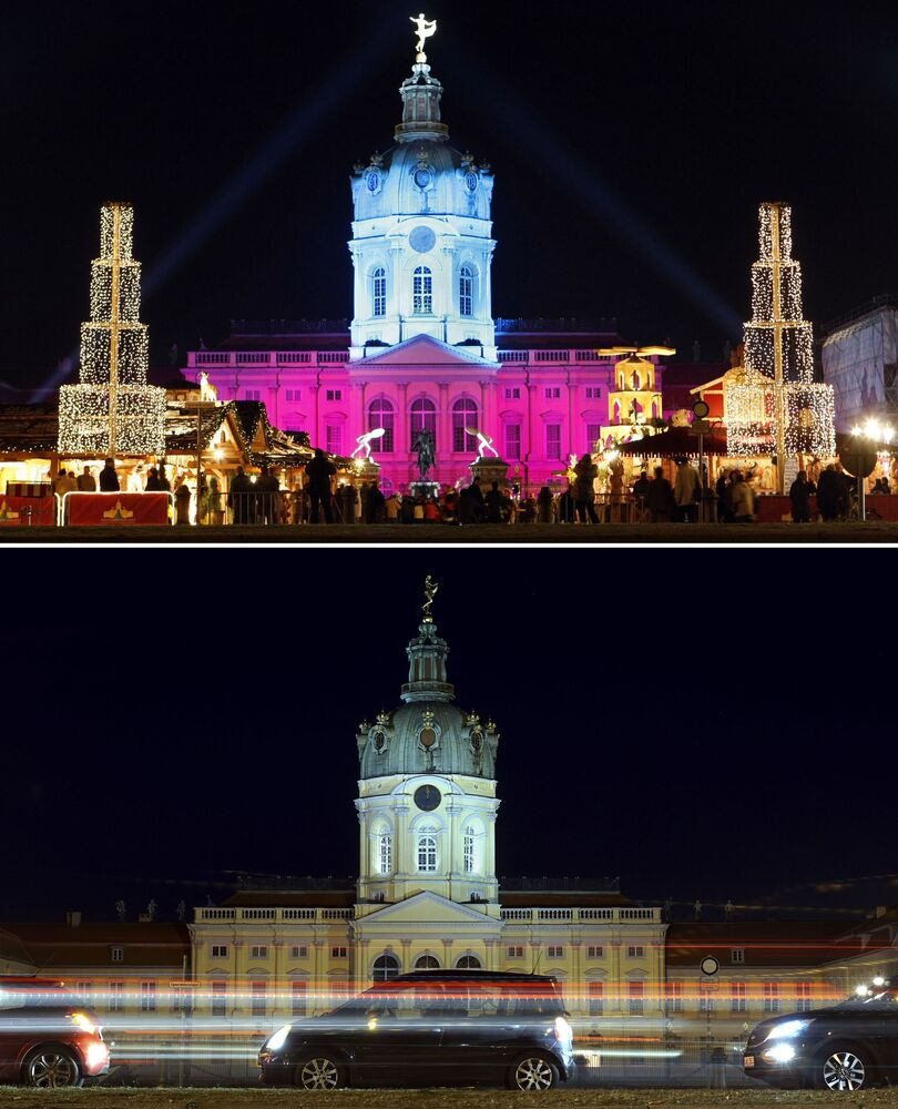 This combination image shows a file photo dated Monday, 24 November 2008 of the Charlottenburg Palace with the traditional Christmas Market in Berlin Germany, top, and the square on Tuesday, 24 November 2020, below.