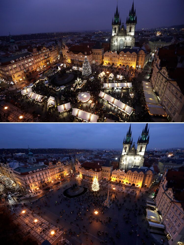 This combination image shows a file photo dated Thursday, 5 December 2019 of the traditional Christmas Market at the Old Town Square in Prague, Czech Republic, top, and the square on Saturday, 28 November 2020 below.