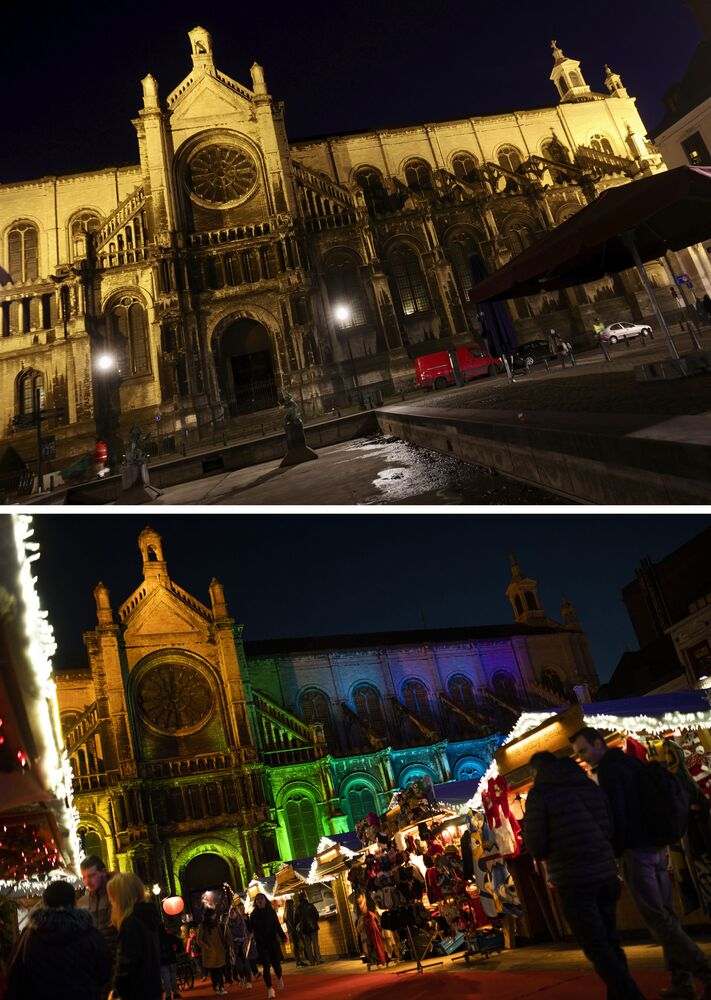 This combination image shows a file photo dated Wednesday, 18 December 2019 of the traditional Christmas Market next to Saint Catherine Church in Brussels, Belgium, below, and the square on Tuesday, 24 November 2020, top.