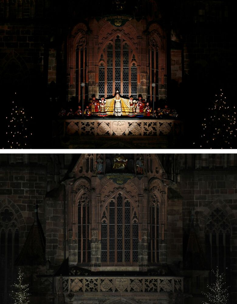 This combination picture shows the gold-foiled Christ Child reciting a prologue during the opening ceremony of the traditional Christkindlesmarkt on 28 November 2014, and the empty balcony of the Church of Our Lady amid the outbreak of the coronavirus disease (COVID-19) in Nuremberg, Germany, 26 November 2020.