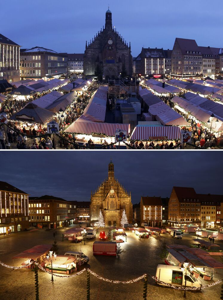 This combination image shows a file photo dated Friday, 1 December 2017 of the square in front of the Church of Our Lady with the traditional Christmas Market in Nuremberg, Germany, top, and the square on Monday, 23 November 2020, below.