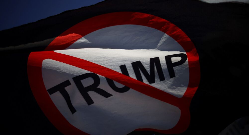 An anti Trump flag is pictured on Black lives Matter plaza near the White House after Election Day in Washington, U.S., November 4, 2020