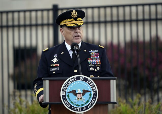 Chairman of the Joint Chiefs Gen. Mark Milley speaks during a ceremony at the National 9/11 Pentagon Memorial to honor the 184 people killed in the 2001 terrorist attack on the Pentagon, in Washington, Friday Sept. 11, 2020