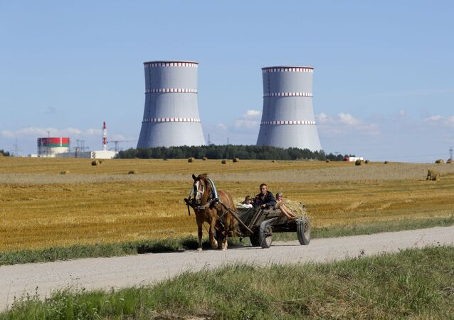 A man in a horse drawn carriage travels on a road, with Belarus's first nuclear plant which was built by Russia's state nuclear corporation Rosatom in the background near Astravets, Belarus, Friday, Aug. 7, 2020