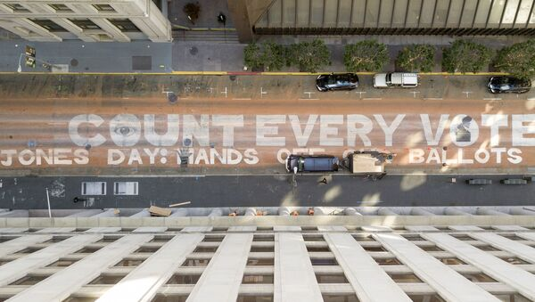 In an aerial view from a drone, a mural that reads Count Every Vote is seen painted on Montgomery Street on November 10, 2020 in downtown San Francisco, California - Sputnik International