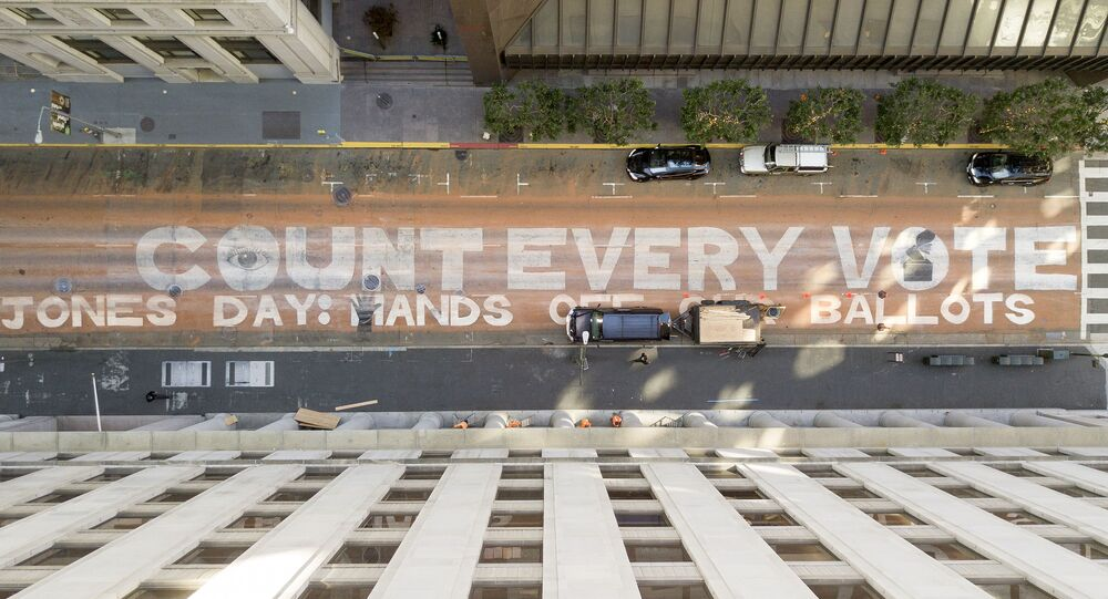 In an aerial view from a drone, a mural that reads Count Every Vote is seen painted on Montgomery Street on November 10, 2020 in downtown San Francisco, California