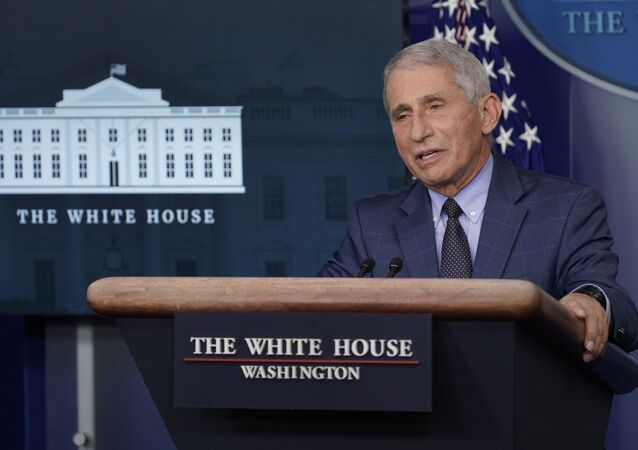 Dr. Anthony Fauci, director of the National Institute of Allergy and Infectious Diseases, speaks during a briefing with the coronavirus task force at the White House in Washington, Thursday, Nov. 19, 2020