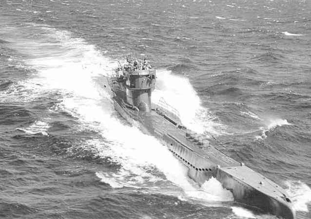 A German submarine U-278 in Atlantic waters.
