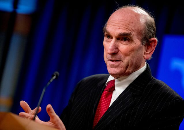 Elliott Abrams speaks during a news conference at the State Department, in Washington, U.S., March 31, 2020