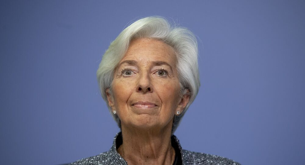 In this Thursday, March 12, 2020 file photo the President of European Central Bank Christine Lagarde looks up prior to a press conference following a meeting of the ECB governing council in Frankfurt, Germany.